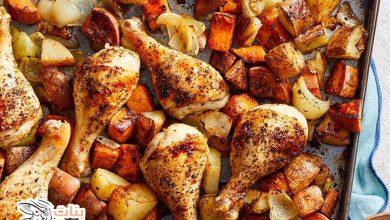 طريقة أفخاذ الدجاج بالبطاطس